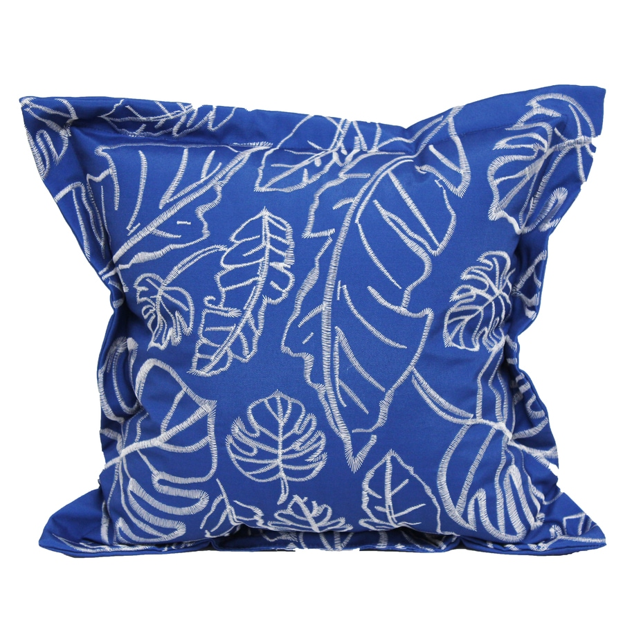 Decorative Pillows White : Shop allen + roth Blue and White Floral Square Throw Pillow Outdoor Decorative Pillow at Lowes.com
