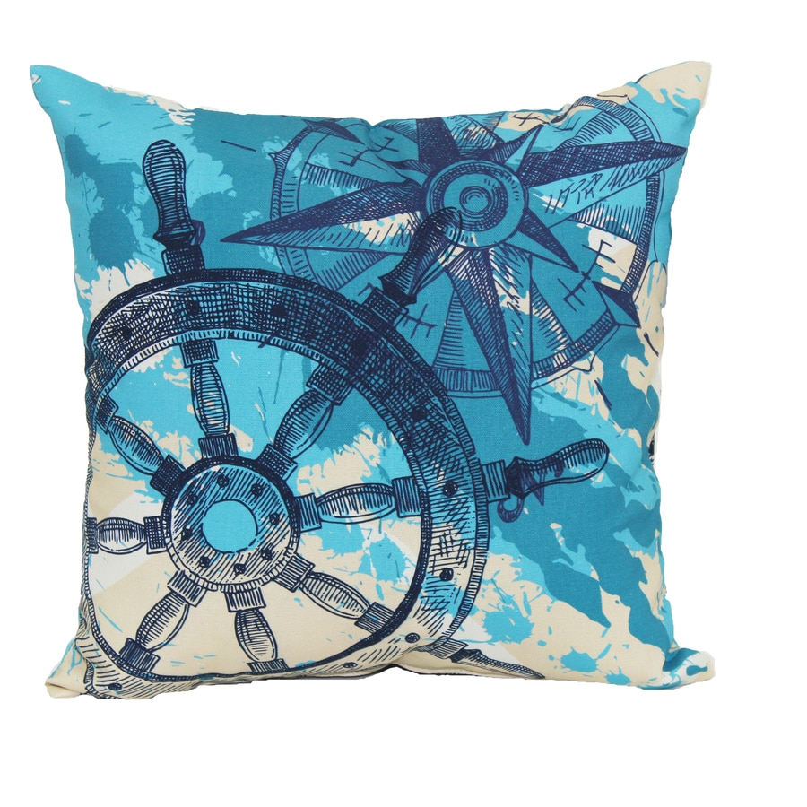 Shop White and Blue Tropical Square Throw Outdoor Decorative Pillow at Lowes.com