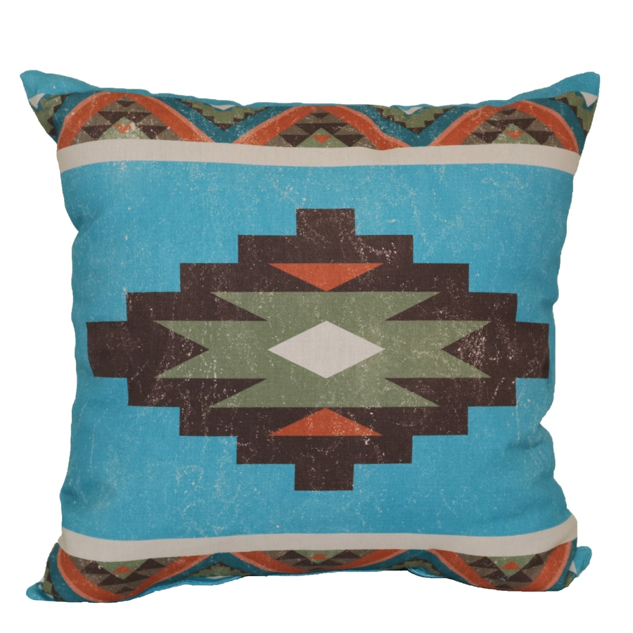 Blue And Brown Geometric Square Throw Pillow Outdoor Decorative Pillow