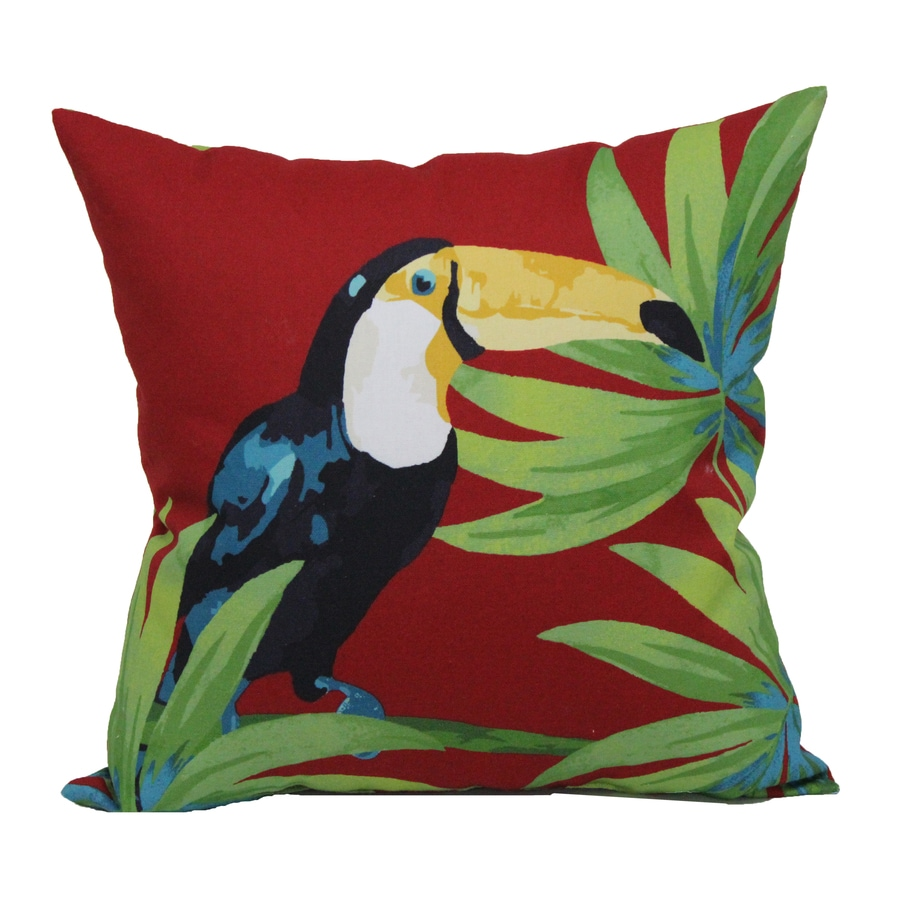 Red Green Throw Pillow : Shop Red and Green Tropical Square Throw Pillow Outdoor Decorative Pillow at Lowes.com