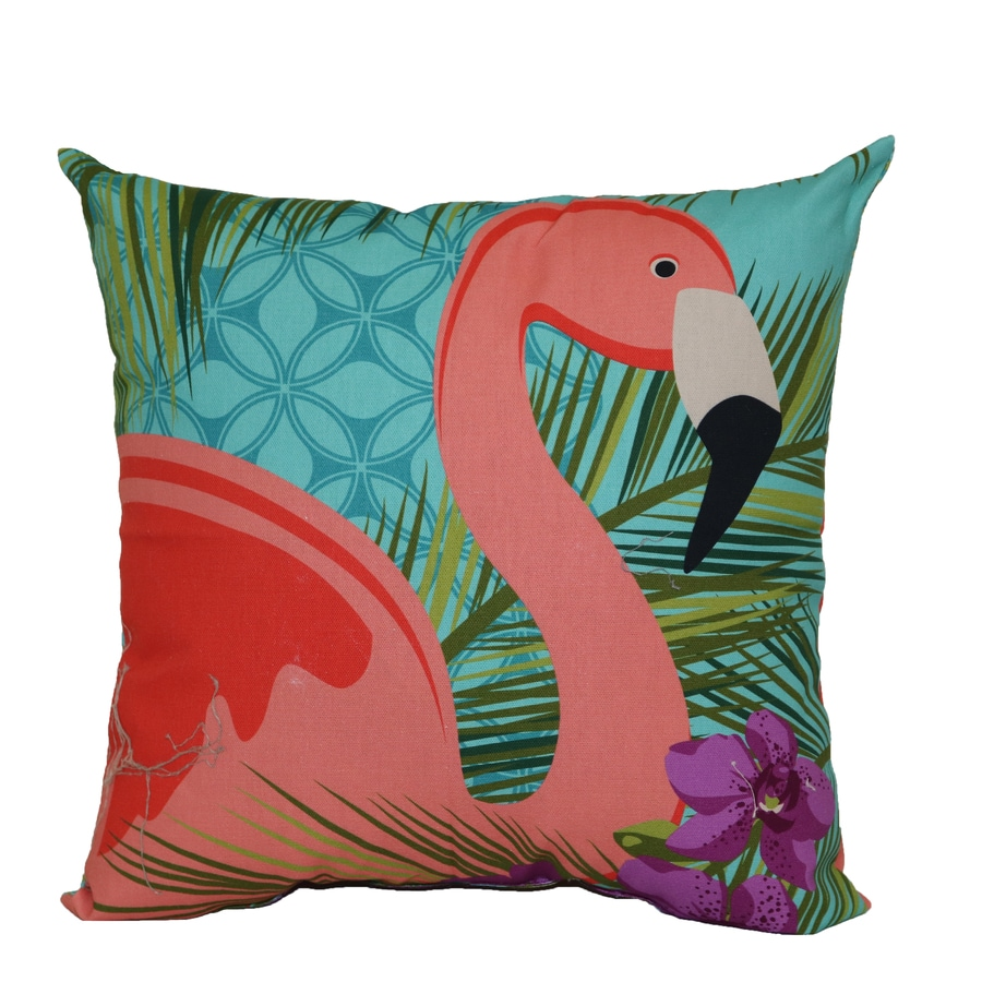 Blue And Pink Decorative Pillows : Shop Blue and Pink Tropical Square Throw Pillow Outdoor Decorative Pillow at Lowes.com