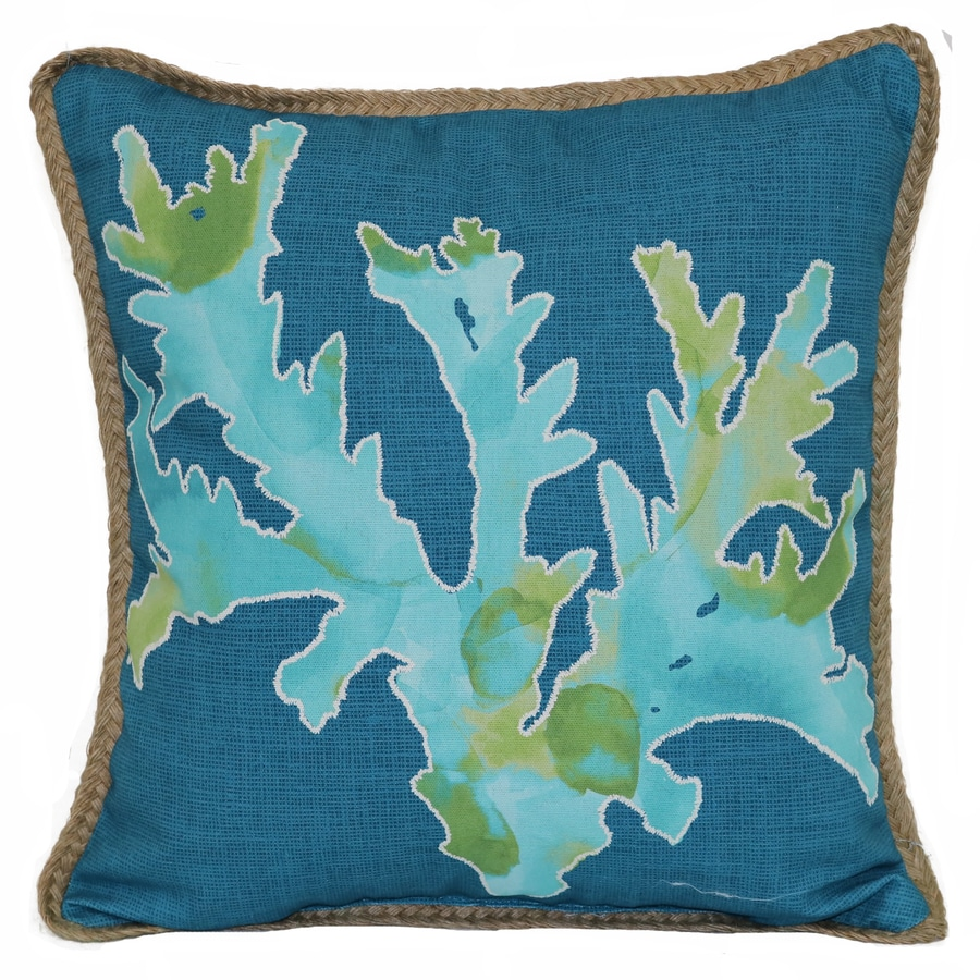 16 In X C Pillow With Embroidery And Jute Trim Teal Outdoor