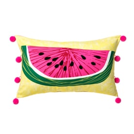 Graphic Print Yellow Rectangular Lumbar Pillow