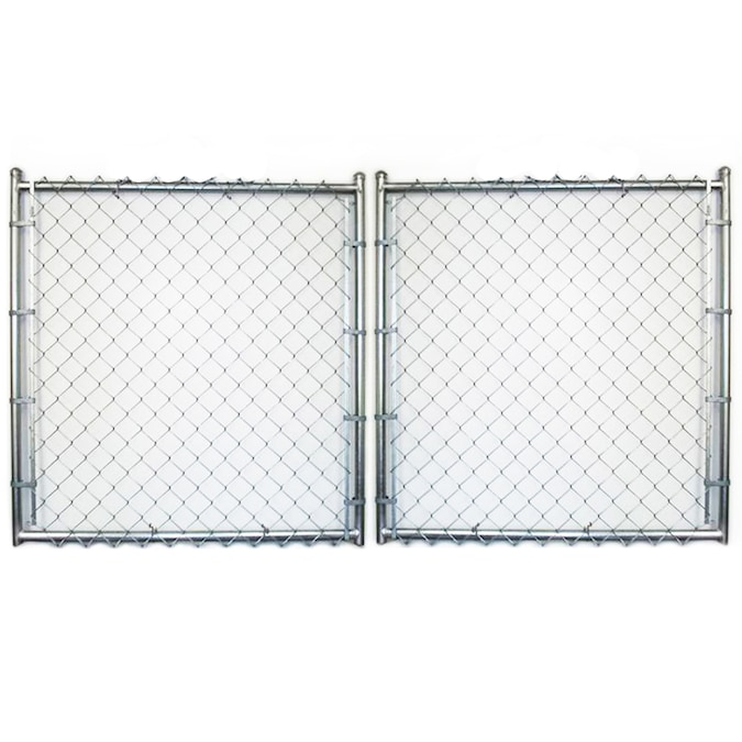 8 Ft H X 16 Ft W Galvanized Steel Chain Link Fence Gate In The Chain Link Fence Gates Department At Lowes Com