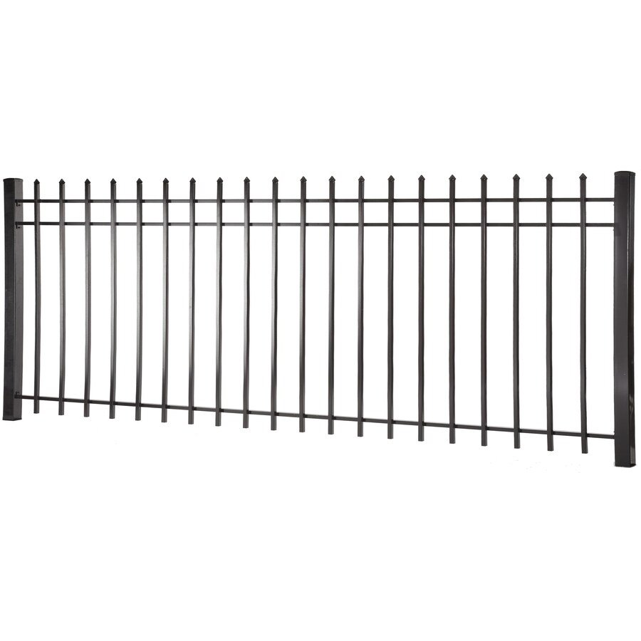 Lafayette Black Steel Decorative Fence Panel (Common: 4-ft x 8-ft; Actual: 3.95-ft x 7.97-ft)