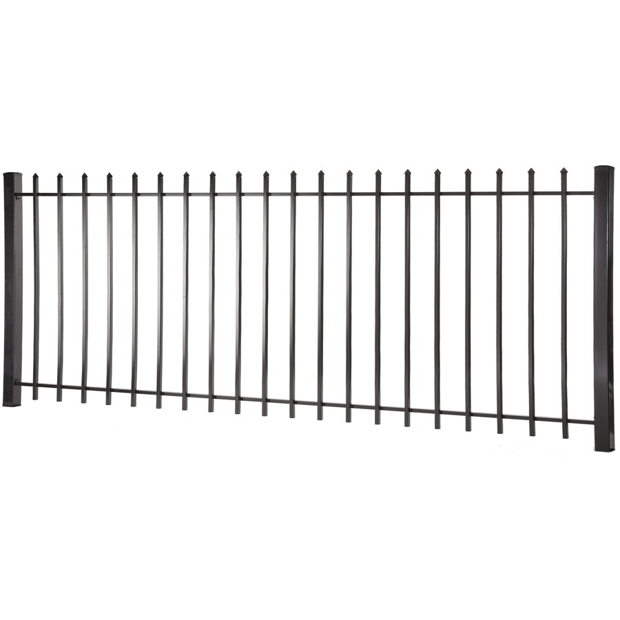 (Actual: 3.95-ft x 7.97-ft) Lafayette Black Steel Decorative Fence Panel