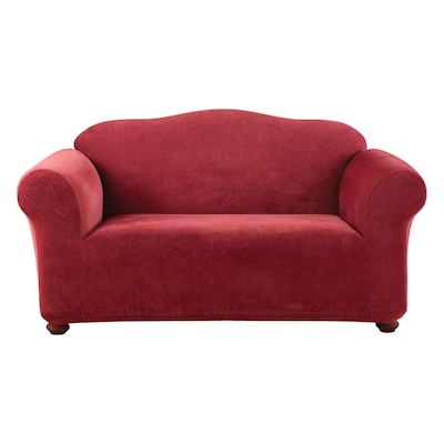 Stretch Pique Garnet Velvet Loveseat Slipcover At Lowes Com