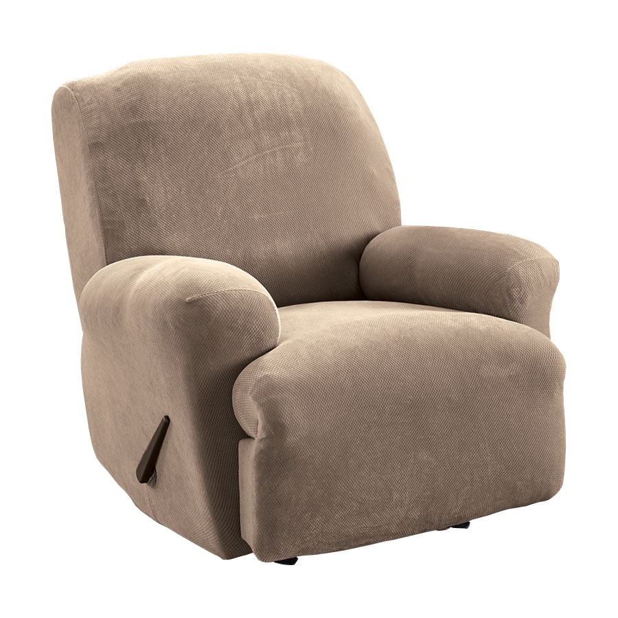 Stretch Pique Taupe Velvet Recliner Slipcover