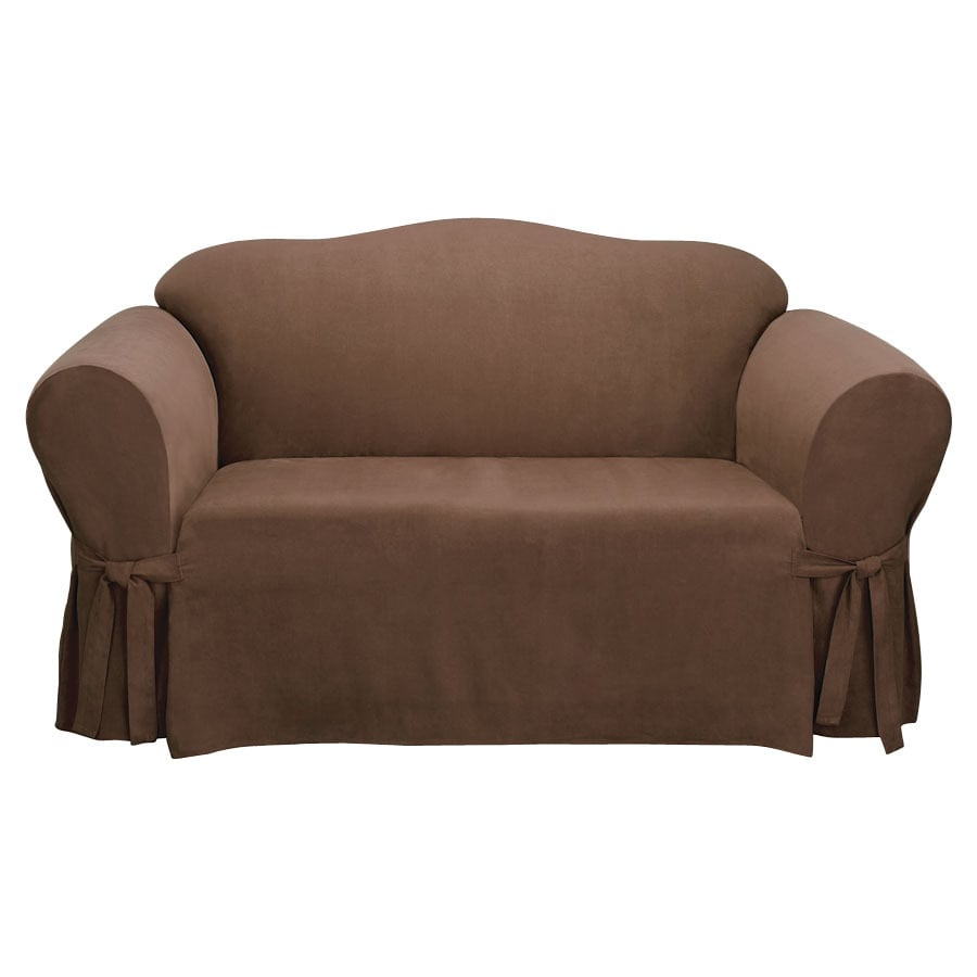 Shop soft suede chocolate microsuede sofa slipcover at for Suede furniture