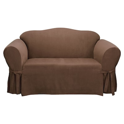 Super Soft Suede Chocolate Microsuede Loveseat Slipcover At Lowes Com Machost Co Dining Chair Design Ideas Machostcouk