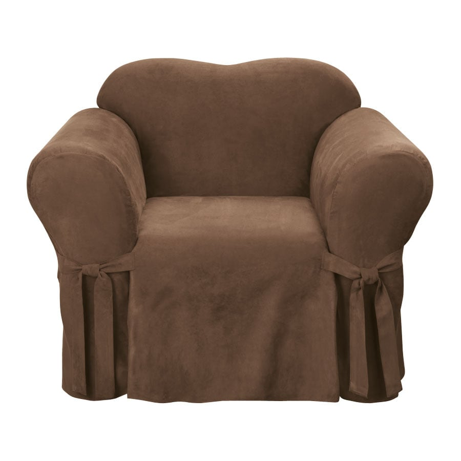 Soft Suede Chocolate Microsuede Chair Slipcover