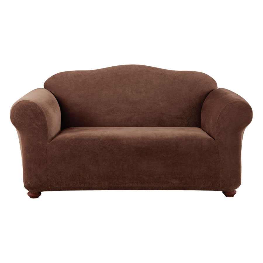 Stretch Pique Chocolate Velvet Loveseat Slipcover