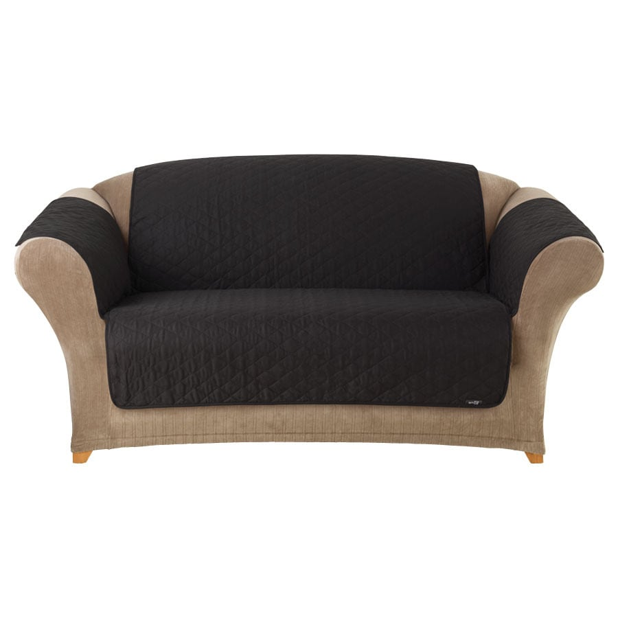 Quilted Duck Black Canvas Sofa Slipcover