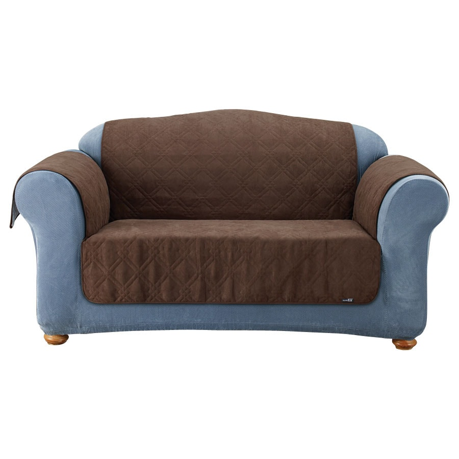 Shop quilted suede brown duck canvas sofa slipcover at for Suede furniture