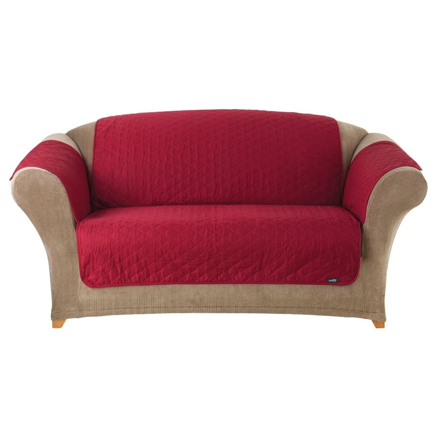 Red slipcover sofa slipcover sofa thesofa Couch and loveseat covers