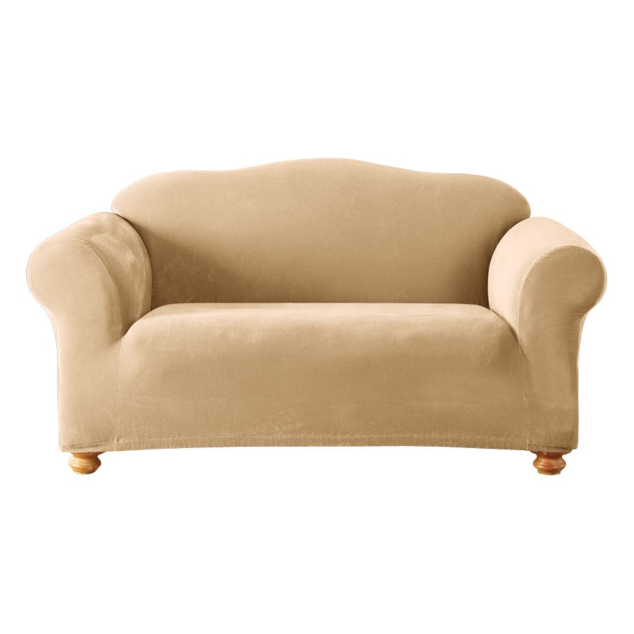 Shop stretch pique cream velvet sofa slipcover at Loveseat slip cover