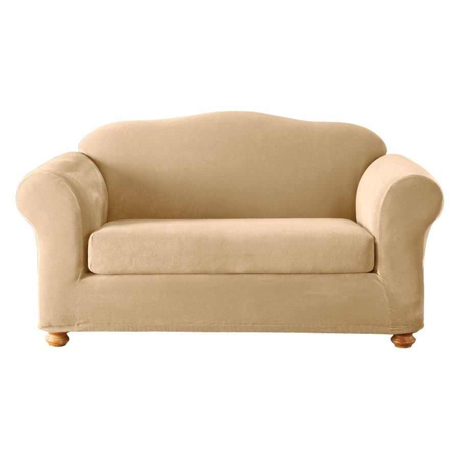Stretch Pique Cream Velvet Loveseat Slipcover