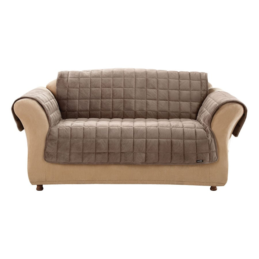 Shop deluxe quilted brown duck canvas loveseat slipcover at Loveseat slipcover