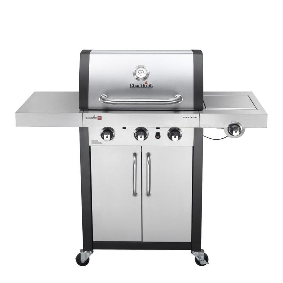 Char-Broil Commercial TRU-Infrared Stainless/Black 3-Burner Liquid Propane Gas Grill with 1 Side Burner