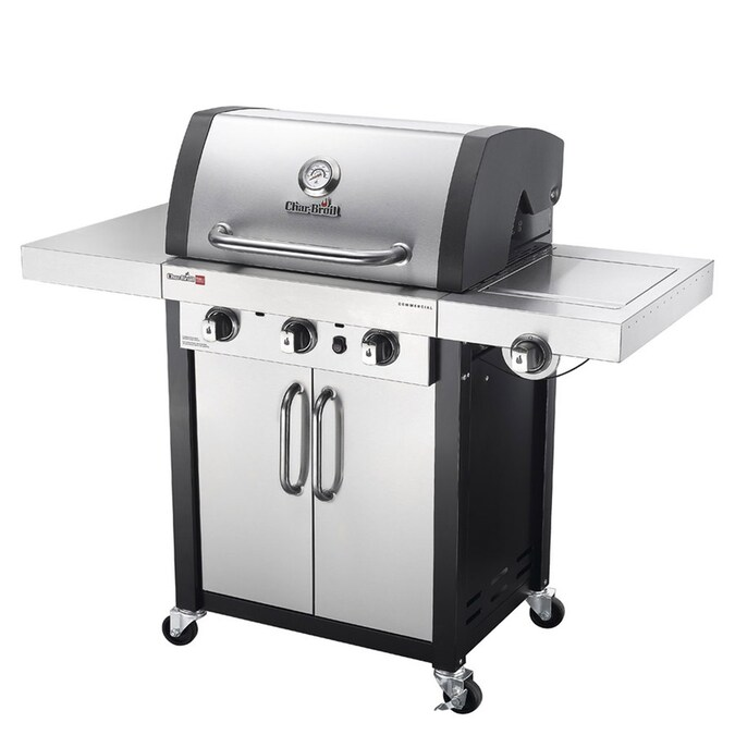 Char Broil Commercial Stainless Black 3 Burner Liquid Propane And Natural Gas Infrared Gas Grill With 1 Side Burner In The Gas Grills Department At Lowes Com