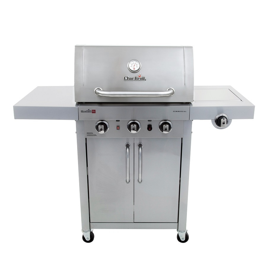 Char-Broil Commercial - Signature Addition Stainless 3-Burner (25,500-BTU) Liquid Propane Gas Grill with Side Burner