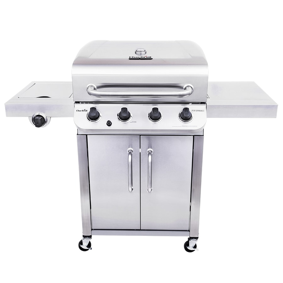 char broil performance stainless 4 burner liquid propane gas grill with 1 side burner at. Black Bedroom Furniture Sets. Home Design Ideas