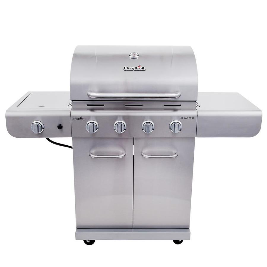 Char-Broil Silver 4-Burner (30000.0-BTU) Liquid Propane Gas Grill with Side Burner