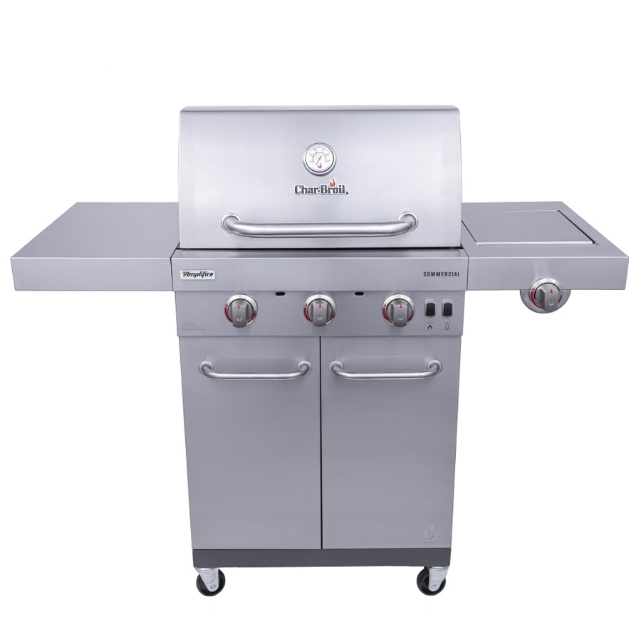 Char Broil Commercial Stainless Steel 3 Burner Liquid Propane And Natural Gas Infrared Gas Grill With 1 Side Burner In The Gas Grills Department At Lowes Com