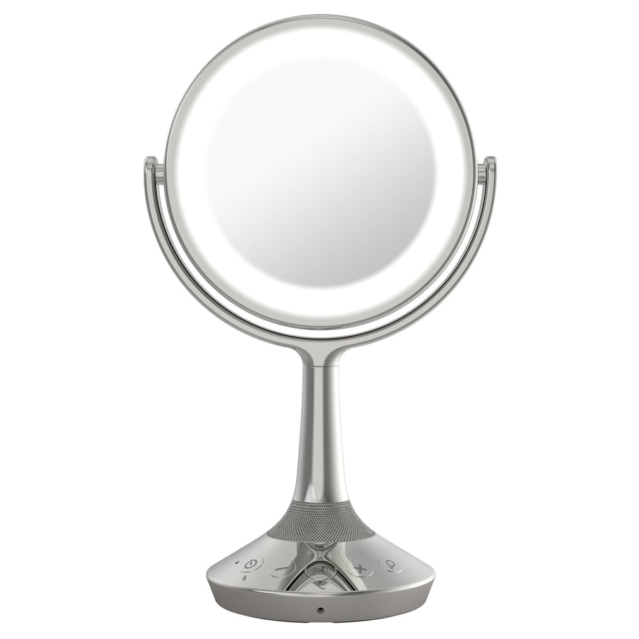 Vanity Mirror With Lights Lowes : Shop iHome Beauty Nickel Plastic Magnifying Countertop Vanity Mirror with Light at Lowes.com