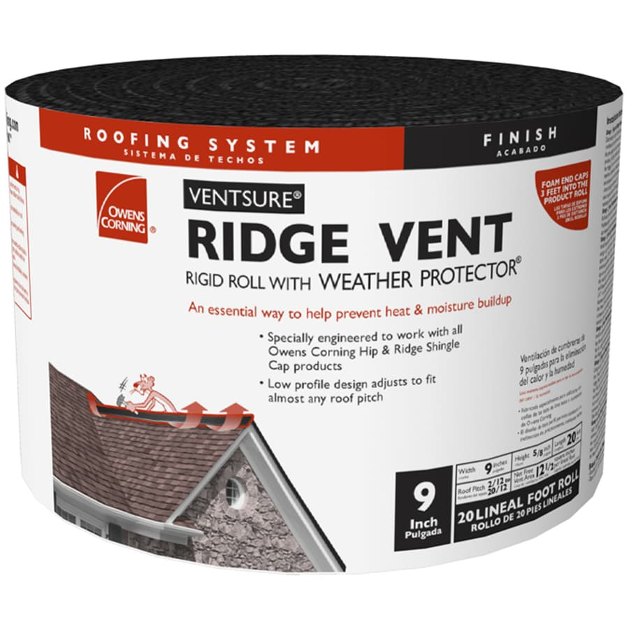Owens Corning VentSure 9-in x 240-in Black Plastic Roll Roof Ridge Vent