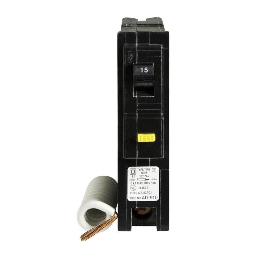 Square D Homeline 15-Amp 1-Pole Ground Fault Circuit Breaker