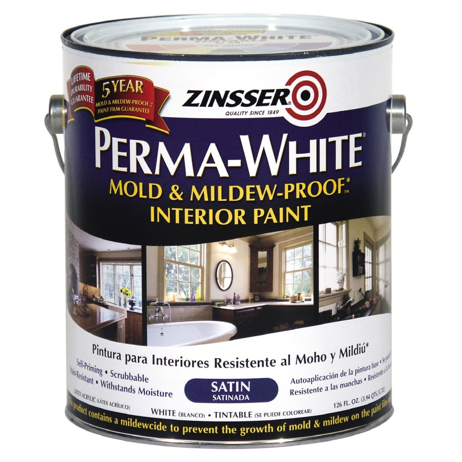 Zinsser White Satin Acrylic Interior Paint and Primer in One (Actual Net Contents: 126-fl oz)
