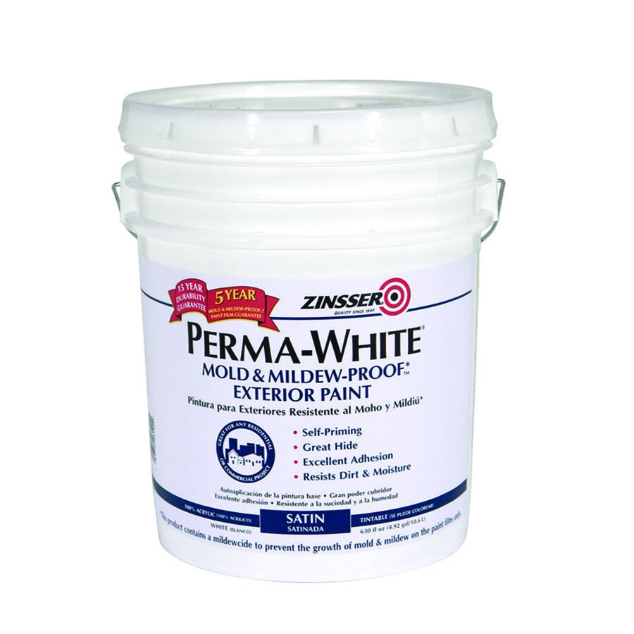 Rust-Oleum Perma-white White/Satin Satin Water-based Exterior Paint (Actual Net Contents: 630-fl oz)
