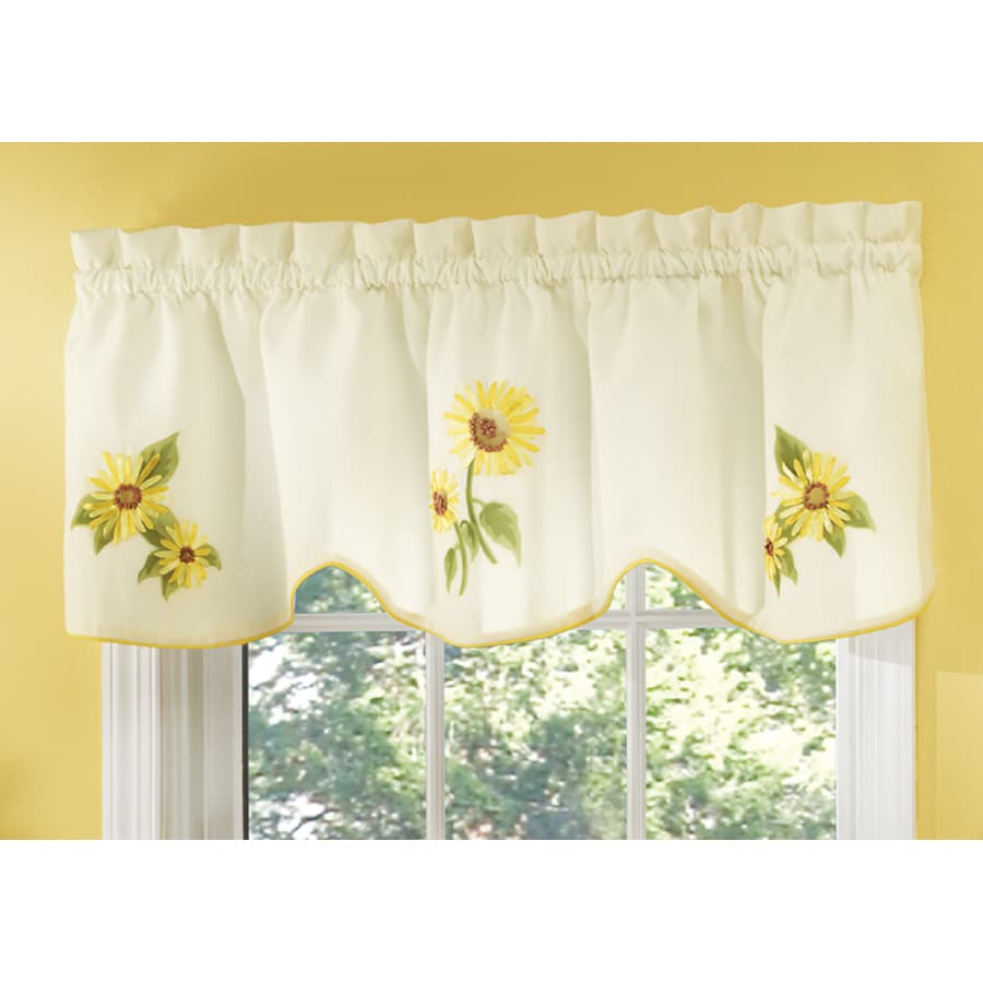 Style Selections Sunflower 16 In Yellow Polyester Rod Pocket Valance