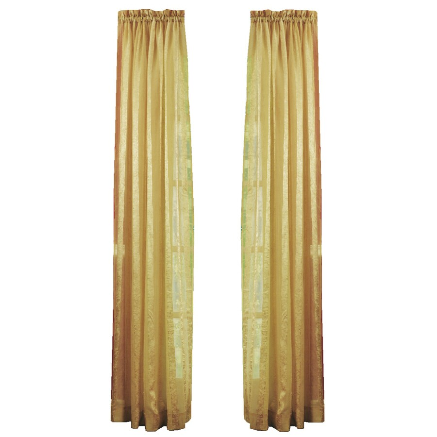 Style Selections Crystal 84 In Gold Polyester Rod Pocket Sheer Single Curtain Panel