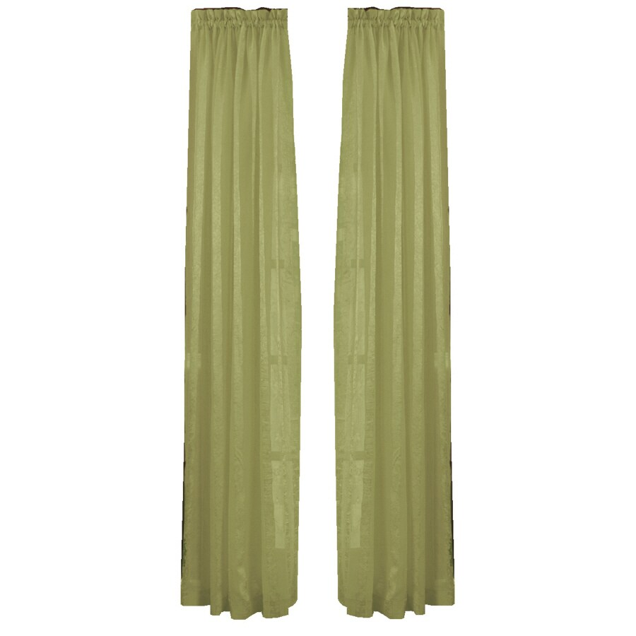Style Selections Crystal 84-in Sage Polyester Rod Pocket Sheer Single Curtain Panel