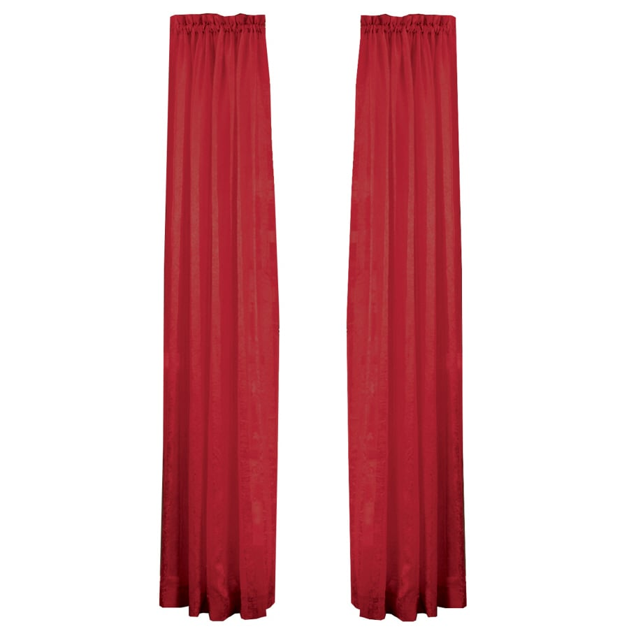 Style Selections Crystal 84-in Red Polyester Rod Pocket Light Filtering Sheer