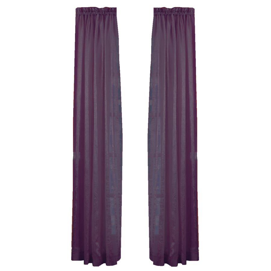 Style Selections Crystal 84-in Eggplant Polyester Rod Pocket Sheer Single Curtain Panel