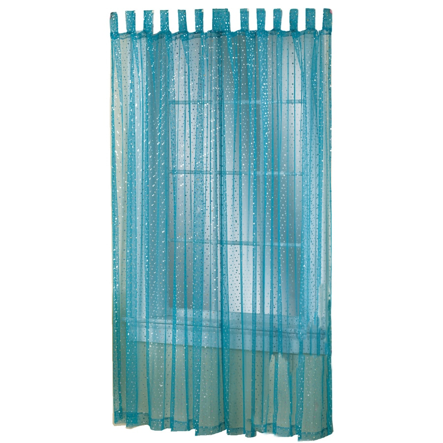 Style Selections Icicle 84-in Blue Polyester Top Tab Light Filtering Sheer Single Curtain Panel