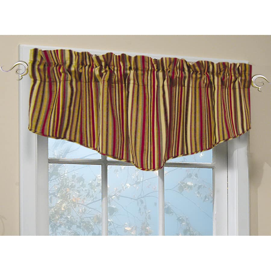 Allen Roth Modena 18 In Red Polyester Rod Pocket Valance