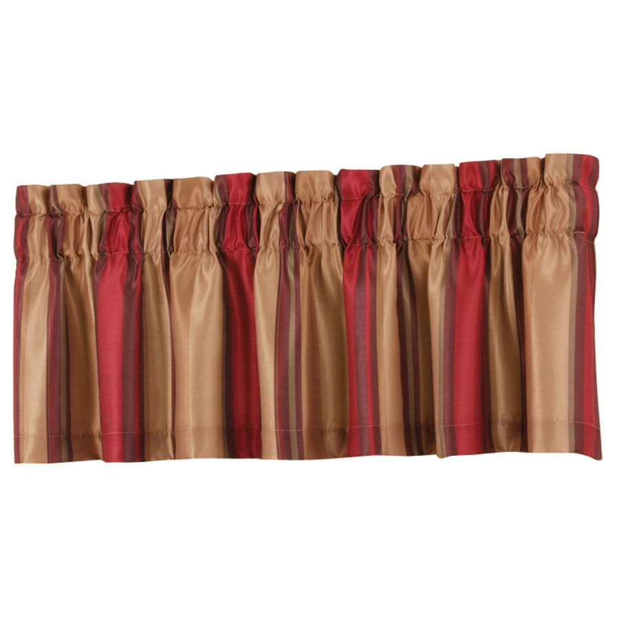 allen + roth Alison 18-in Red Polyester Rod Pocket Valance
