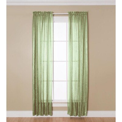 allen roth 95 in sage polyester sheer rod pocket single curtain panel lowes com