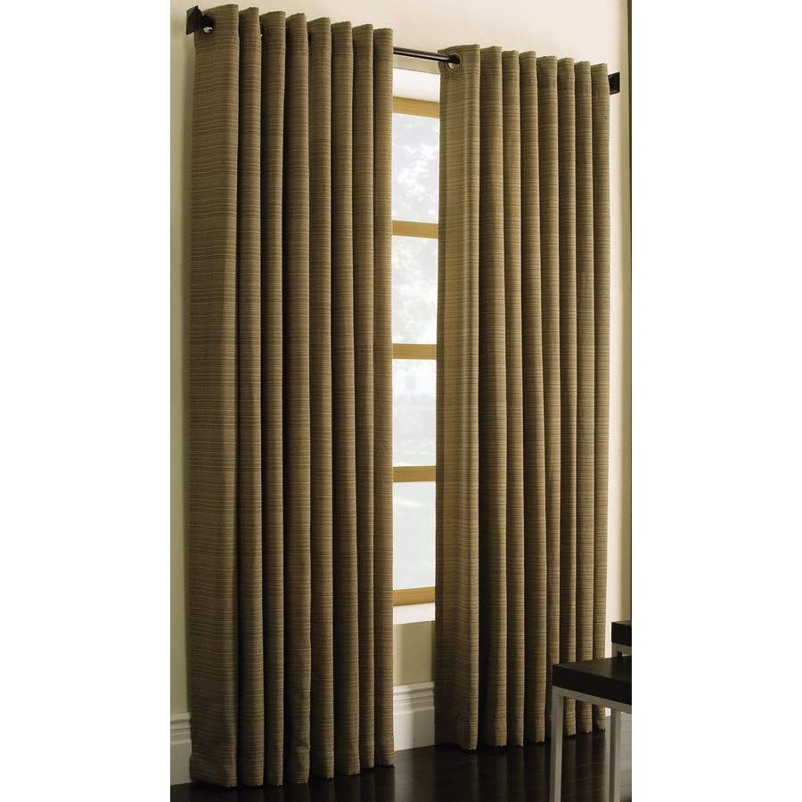 Style Selections Marsden 84-in Brown Polyester Grommet Light Filtering Single Curtain Panel