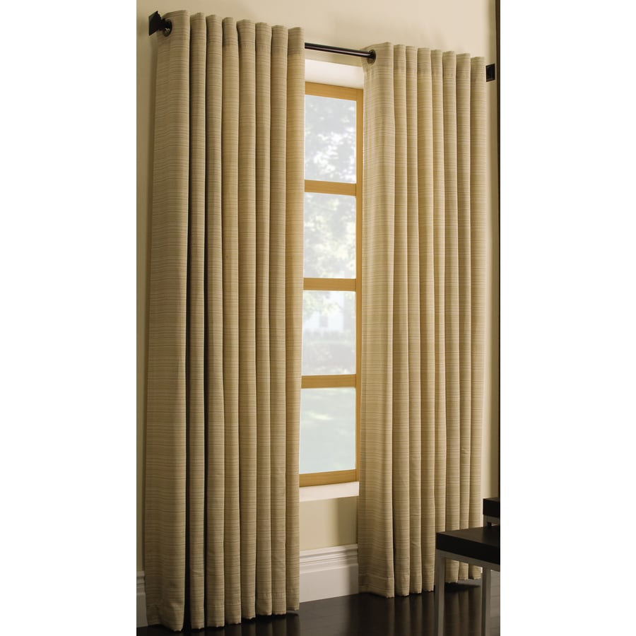 Style Selections Marsden 84-in Gold Polyester Grommet Light Filtering Single Curtain Panel
