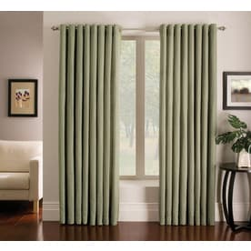 allen + roth Sullivan 84-in Green Polyester Grommet Light Filtering Single Curtain Panel