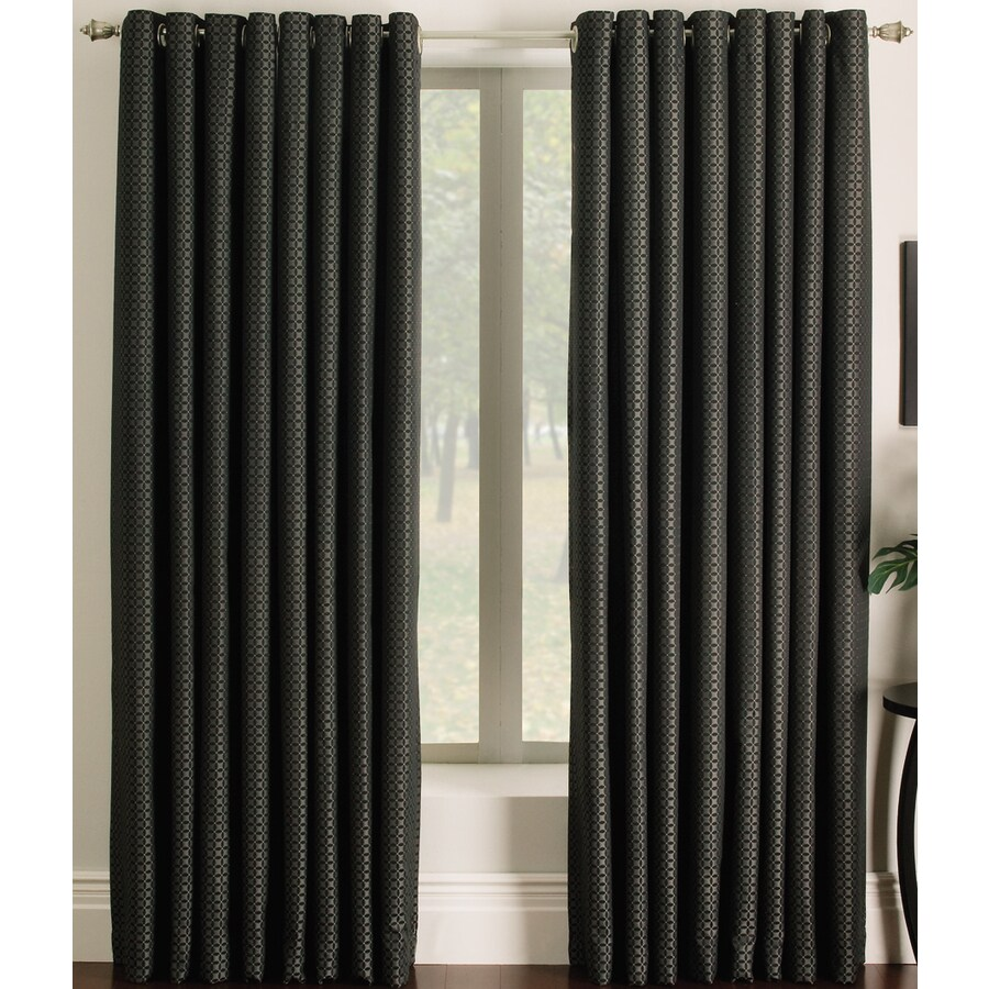 Allen Roth Sullivan 84 In Black Polyester Grommet Light Filtering Single Curtain Panel