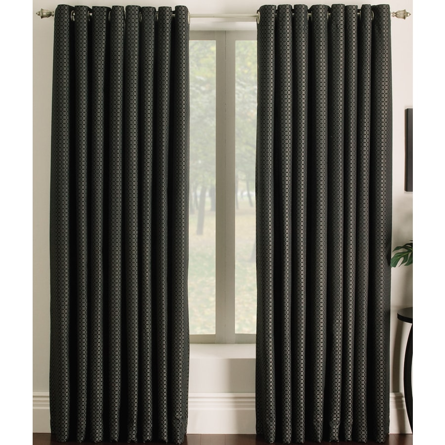 allen + roth Sullivan 84-in Black Polyester Grommet Light Filtering Single Curtain Panel