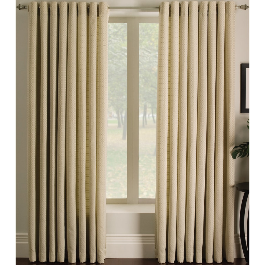 allen + roth Sullivan 84-in Ivory Polyester Grommet Light Filtering Single Curtain Panel