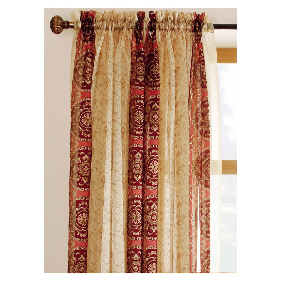 allen + roth Cheshire 84-in Red Polyester Rod Pocket Sheer Single Curtain Panel