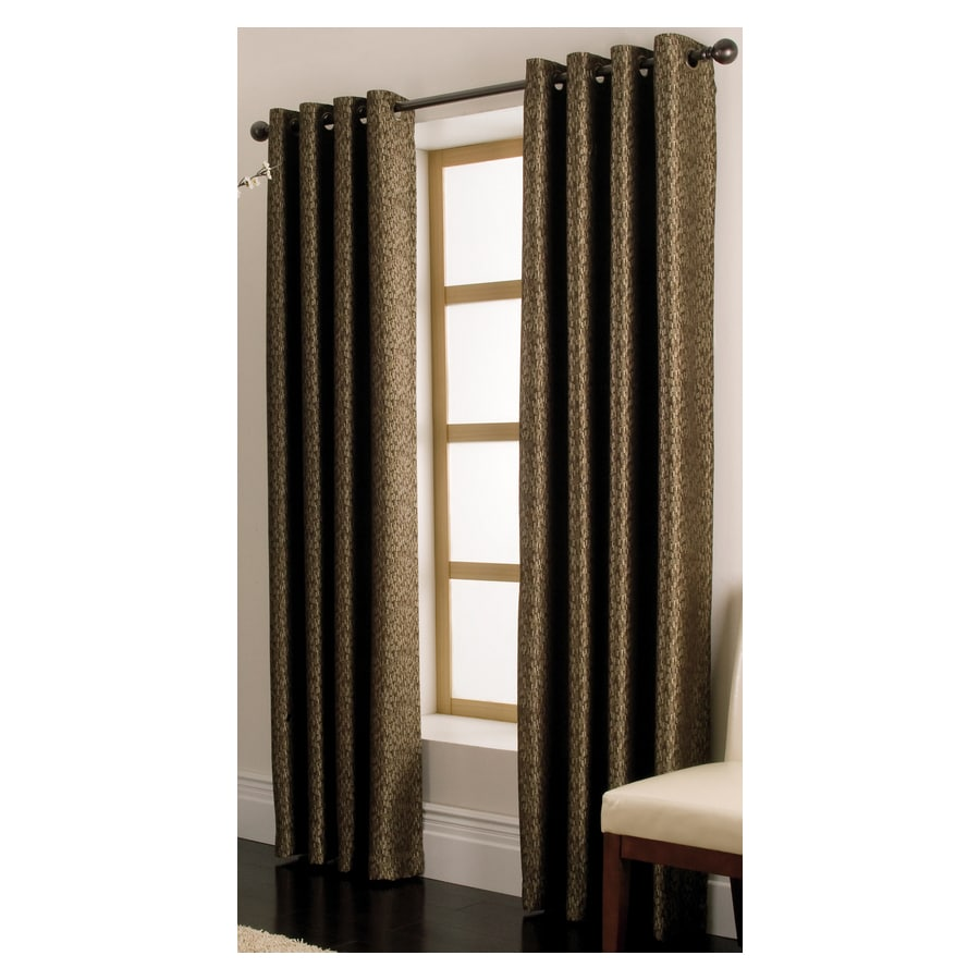 allen + roth Vernon 84-in L Solid Chocolate Grommet Window Curtain Panel